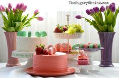 Macarons. Fiesta Ware. Cake. Pistachio. Strawberries.