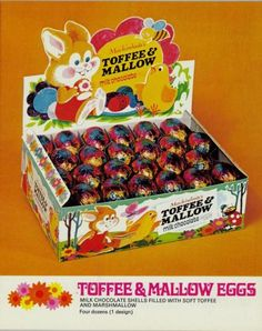 From 1972 Rowntree's toffee & mallow milk chocolate eggs Old Sweets, Vintage Sweets, Retro Sweets, Vintage Lunch Boxes, Retro Food, 1980s Childhood, My Childhood Memories, Sweet Memories, Childhood Images