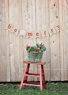 """Handmade Burlap and Felt Christmas """"Be Merry"""" Flag Pennant, Banner. Cute backdrop for a Christmas card photo!"""
