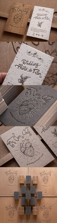 Inspiração para #Cartão de #Visita - Laser Etched Layered Wooden Business Card For A Wedding Photographer