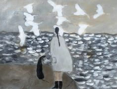 """Following the Wind - Bird, Dog and Geese"" - Gigi Mills"