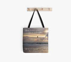 Heavens Rejoice ~ Bible Tote Bag ~ Beach Tote ~ Christian Gift ~ Beach Bag ~ Nature Photo Tote ~ Religious Book Bag ~ Shoulder Bag ~ Blue Ocean Print ~ Peach Lavender Tote by #NancyJsLifestyle