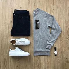 Men Casual T-Shirt Outfit 🖤 Very Attractive Casual Outfit Grid, Mens Casual Dress Outfits, Stylish Mens Outfits, Fashion Outfits, Fashion Boots, Stylish Clothes, Herren Style, Herren Outfit, Outfit Grid, Mode Streetwear