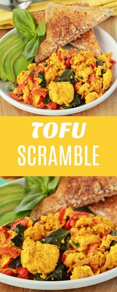 Simply delicious tofu scramble, packed with fresh veggies and super high in protein and nutrition. Serve with hot toast and sliced avocado for a fabulous vegan breakfast or brunch. | lovingitvegan.com