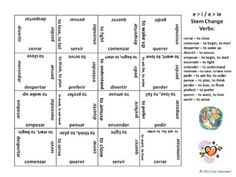 free printable spanish verb conjugation and translation