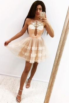 Cute A Line Prom Dress, Pink Mini Cocktail Dress T1424 by sweetdressy, $123.12 USD Dresses Short, A Line Prom Dresses, Grad Dresses, Nice Dresses, Champagne Homecoming Dresses, Cheap Tulle, A Line Shorts, Time 7, Short Prom