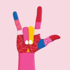 "American Sign Language (ASL) ""I love you"" colorful hand art Outline Artists, Posca Art, Arte Pop, Hand Art, Urban Art, Graphic Illustration, Collage Art, Art Inspo, Street Art"
