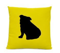Bulldog Silhouette Pillow - Your Choice of Color - Modern Home Decor Living Room- dog breed silhouette pillow - dog home decor by sophisticatedpup on Etsy