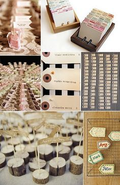 When it comes to escort cards, you don't have to spend a lot of money for them to look amazing. Here are some beautiful DIY examples of how . Tableau Marriage, Name Cards, Party Gifts, Event Design, Rustic Wedding, Wedding Inspiration, Wedding Ideas, Wedding Decorations, Stationery