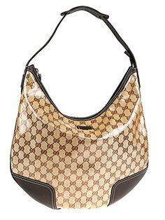 3d387676c34 Gucci Crystal Collection Hobo Shoulder Bag in Brown Leather Trim