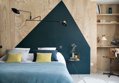 Hotel Henriette Paris, a boutique design hotel left bank, metro Gobelins, close to the Latin quarter. Plywood Interior, Plywood Walls, Hotel Henriette Paris, Headboard Alternative, Painted Headboard, Plywood Headboard, Paris Rooms, Paris Decor, Paris Design