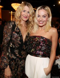 Laura Dern and Margot Robbie at the 2020 Golden Globes - - The 2020 Golden Globes took place in Beverly Hills on Sunday night, bringing together a slew of Hollywood's biggest stars. From film, television, and music,. Golden Globe Award, Golden Globes, Harely Quinn And Joker, Actress Margot Robbie, Margot Robbie Harley Quinn, Beyonce Knowles Carter, Old Hollywood Glamour, Hollywood Style, Nicole Kidman