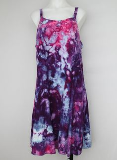 Tie dyed Rayon Sun dress Summer festival Ice by ASPOONFULOFCOLORS