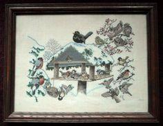 birds with feeder kazari embroidery | ... Eva Rosenstand Clara Weaver Counted Cross Stitch Winter Birds Feeder