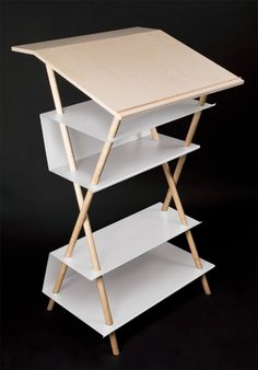 Standing while working. New studies have shown that you should carry out at least 25 percent of your work while standing. Stick and surface, wood and steel: the combinations of form and material de… Interior Architecture, Interior Design, Drafting Desk, Furniture Design, Andreas, Uni, Wood, Modern, Table