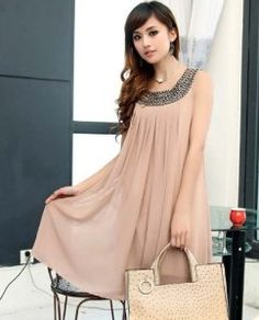 Amazon.com: Maternity Chiffon Beaded Knee Length Casual Party Pregnant Dress Maternity Summer Dresses Women Clothing Pink Color (Size L): Everything Else