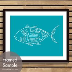 Tuna Fish Butcher Diagram  8x10 Print Featured in by TheWordShop, $12.95