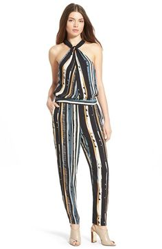 Ella Moss 'Rainforest' Stripe High Neck Jumpsuit available at #Nordstrom