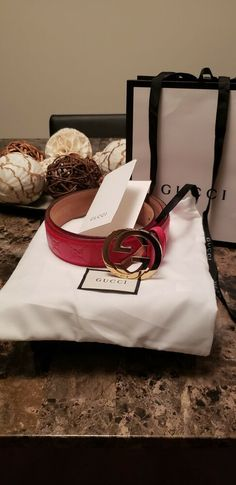 ce7a4ee4b1a New Red Gucci Belt Gold Buckle - Guccissima Red Leather Size 34 38 105cm