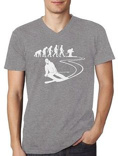 Gift for ski lovers - #evolution of ski - skier cool #v-neck #t-shirt skiing ,  View more on the LINK: http://www.zeppy.io/product/gb/2/252495263000/