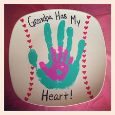 Grandpa and my daughters handprint baseball plate :-)