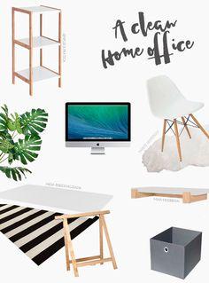 Lista com móveis e acessórios para montar um home office neutro em tons de branco, cinza e madeira crua completo. Mais inspirações em www.omundodejess.com