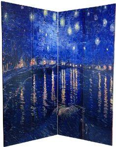 Amazon.com - Oriental Furniture Classic Impressionist Extra Large Wall Art Prints, 6-Feet Van Gogh Canvas Room Divider, Irises/Starry Night, Rhone