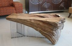 Stunning driftwood coffee table by Ryan Matchett Design House