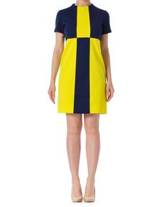 153160c3d016 1960s Mod Blue and Yellow Colorblock Short Sleeve Shift Dress SIZE: S, 4