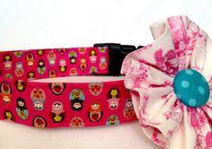 Pink adjustable fabric dog collar for large dog by primsandproper,