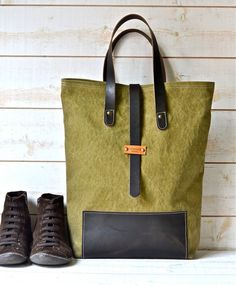 RESERVED for EDEN 19 oz STONEWASH Fold Over Canvas Tote by ikabags