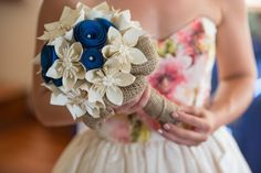 Custom Ever Blooms Origami Bouquet in Ivory, Navy, Burlap, Twine, & Pearls  Order custom bouquets at: https://www.etsy.com/shop/EverBloomsFlowers  **Photographer: Amy Heycock  #bouquet #wedding #bridal