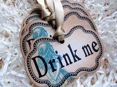 Drink Me Alice in Wonderland Vintage Gift Tag by ifiwerecards, $6.75