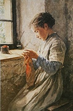 """Girl Knitting"" by Albert Anker (Swiss, 1836-1910)  He must have liked knitting, because this is the second painting by him with a girl knitting away."