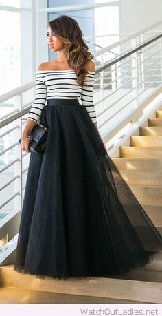 Long black skirt with striped blouse
