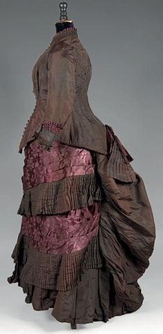 c.1882 Afternoon dress; taffeta, silk