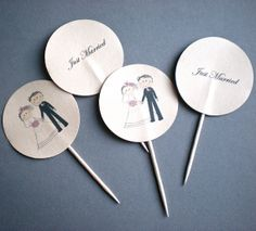 Just Married Wedding Toppers for Newly Wed Couples  by decoraland, €9.99