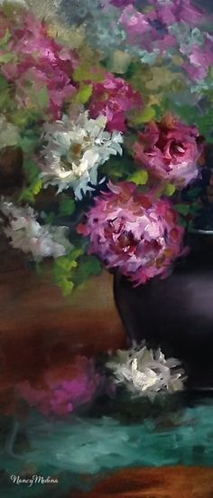 Nancy Medina Art: Storm Horizon Peonies and Painting Over an Older Work - Flower Paintings by Nancy Medina