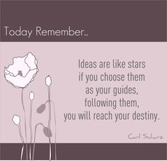 """Ideas are like stars if you choose them as your guides, following them, you will reach your destiny."" - Carl Schurz - #quote"