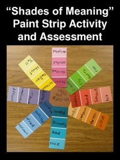 """Shades of Meaning"" Paint Strip Activity and Assessment (Standard 2L5)"