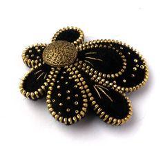 Insolito cerniera spilla fiore di feltro gioielli di PinkiWorld