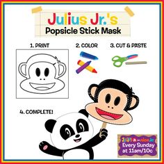 It's super easy to make a Julius Jr. mask with these quick steps!