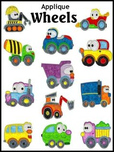 WHEELS Machine Embroidery Applique design set of 12, 2 SIZES