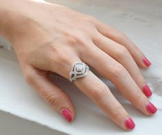 Woven CZ Ring - Art Deco Ring - Cubic Zirconia Micro Pave Ring - Sterling Silver Ring - Silver Cocktail Ring - Wedding Ring - Bridal Jewelry on Etsy, £64.15