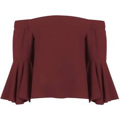 TopShop Flute Sleeve Bardot Top ($44) ❤ liked on Polyvore featuring tops, sleeve top, burgundy top, topshop tops and red top