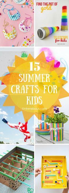 Click through to find 15 fun & creative Summertime Crafts For Kids that they will actually enjoy! These ideas will keep them entertained on hot summer days. For all the Summer Fun!⎜Summertime Kids Crafts ⎜Summer Crafts For Kids ⎜Summer Activities ⎜Kids Crafts For Summer #craftsforkids #kidscrafts #summerfun