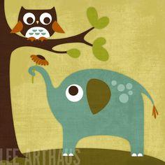 Elephant Flower Owl  leearthaus.esty.com