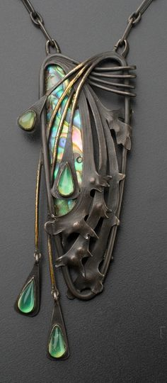 Art Nouveau pendant by Czech jeweller Josef Ladislav Němec, 1903. Oxidized silver, mother of pearl, unidentified gemstones.