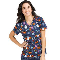 """Looking for Med Couture Women's """"Boo Bash"""" Halloween Scrub Top? Find Med Couture Women's """"Boo Bash"""" Halloween Scrub Top at Advance Healthcare Shop. Disney Scrub Tops, Disney Scrubs, Halloween Scrubs, Halloween Prints, Med Couture Scrubs, Medical Scrubs, Nursing Scrubs, Nursing Clothes, Cute Scrubs"""