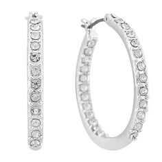 Suzanne Kalan 14k 12mm Hoop Earrings with White Topaz Clover cI1R418